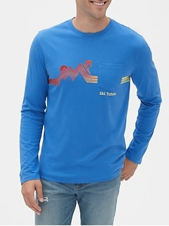 Graphic Long Sleeve Pocket T-Shirt