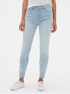 High Rise Legging Jeans with Bleach Detail