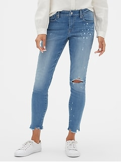 Mid Rise Distressed Legging Jeans