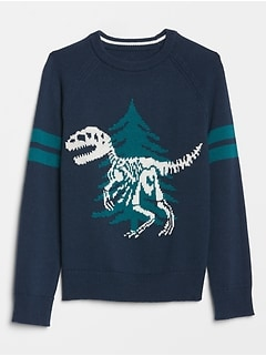 Kids Intarsia Dino Graphic Sweater