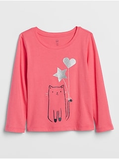 Toddler Embellished Cat Graphic T-Shirt