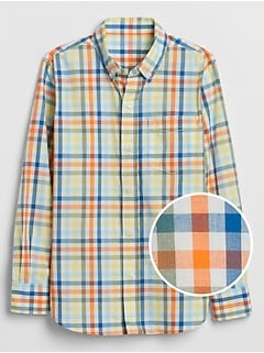 Kids Plaid Poplin Long-Sleeve Shirt