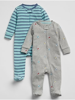 Baby Print Footed One-Piece (2-Pack)