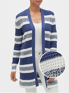 Stripe Open-Front Cardigan