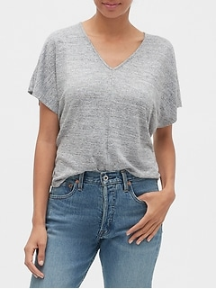 Softspun Flutter Sleeve V-Neck Top