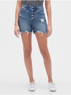 "3.5"" High Rise Destructed Denim Shorts"