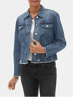 Distressed Crop Icon Denim Jacket