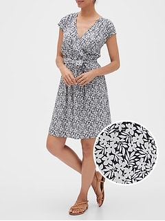 Tie-Belt Wrap Dress in Rayon