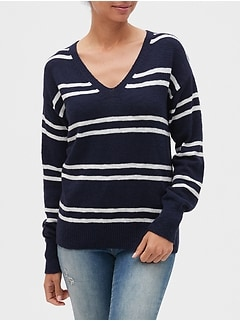 Slub V-Neck Pullover Sweater