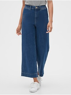 High Rise Wide-Leg Crop Jeans