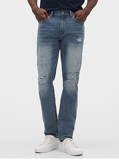 Destructed Skinny Fit Jeans with GapFlex