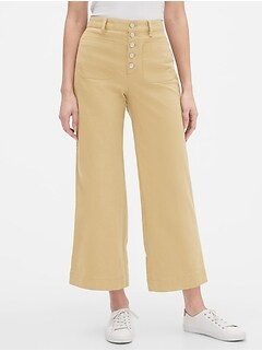High Rise Wide-Leg Crop Khaki Pants