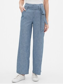 Wide-Leg Chambray Pants
