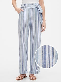 Stripe Tie-Belt Pants in Linen