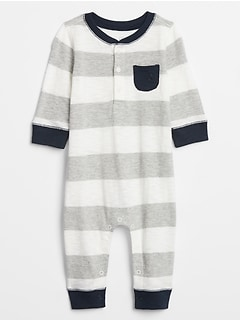 Baby Stripe Henley One-Piece