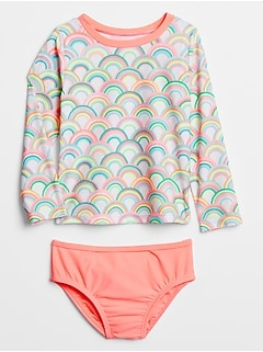 Toddler Print Rashguard Swim Two-Piece