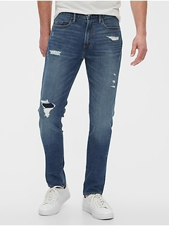 Rip & Repair Slim Taper Jeans with GapFlex