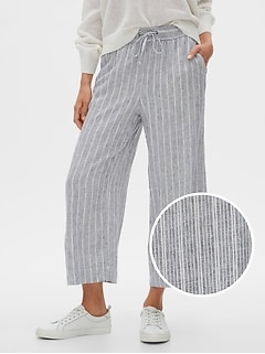 Wide-Leg Crop Pants in Linen
