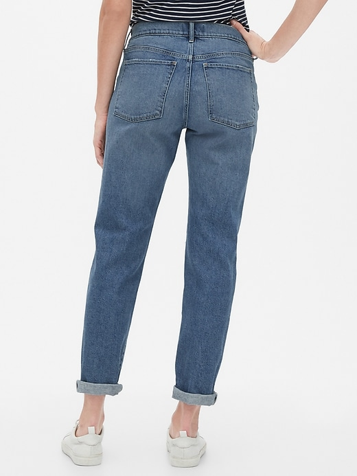 Destructed Mid Rise Girlfriend Jeans