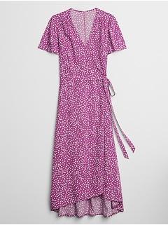 Print Midi Wrap Dress