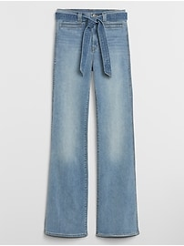 High Rise Tie-Belt Flare Jeans