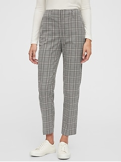 High Rise Slim Taper Plaid Pants