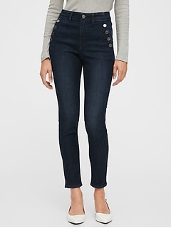 High Rise Universal Legging Jeans with Button Pockets