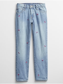 Kids Embroidered Girlfriend Jeans