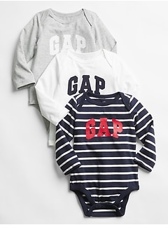Baby Gap Logo Long Sleeve Bodysuit (3-Pack)