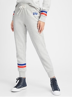 Gap Logo Contrast-Stripe Joggers in French Terry