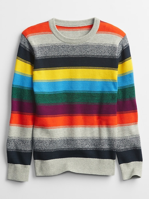 Kids Happy Stripe Crewneck Sweater