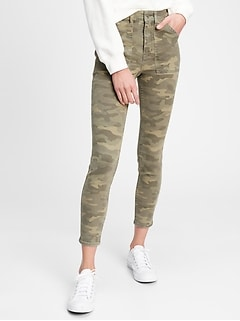 High Rise Camo Universal Legging Jeans With Washwell™