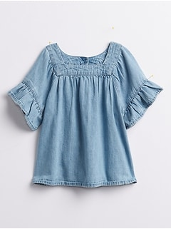 Toddler Denim Ruffle Shirt