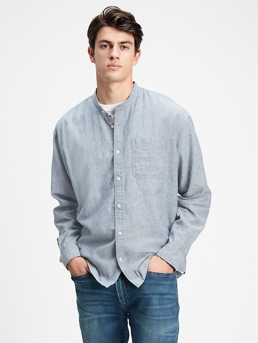 Band Collar Shirt in Relaxed Fit
